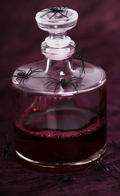 Witchy Glass Potion Spell Bottles and Jars: Magic Potion spiders